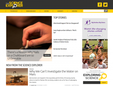 The Science Explorer home page (desktop)