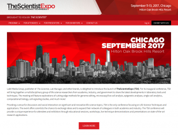 Screenshot: The Scientist Expo home page (desktop)
