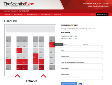 Screenshot: The Scientist Expo Floor Plan page (mobile)