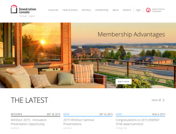 Screenshot: Fenestration Canada home page (desktop)