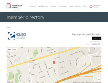 Screenshot: Fenestration Canada Dealer directory page